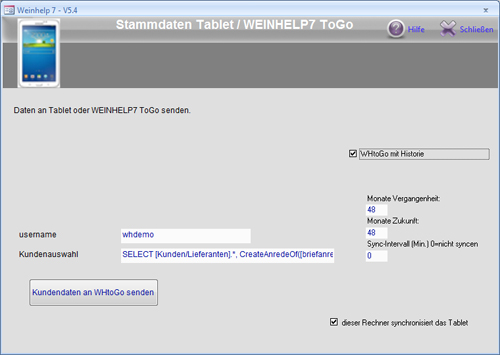 Stammdaten in Zubehör / WEINHELP ToGo
